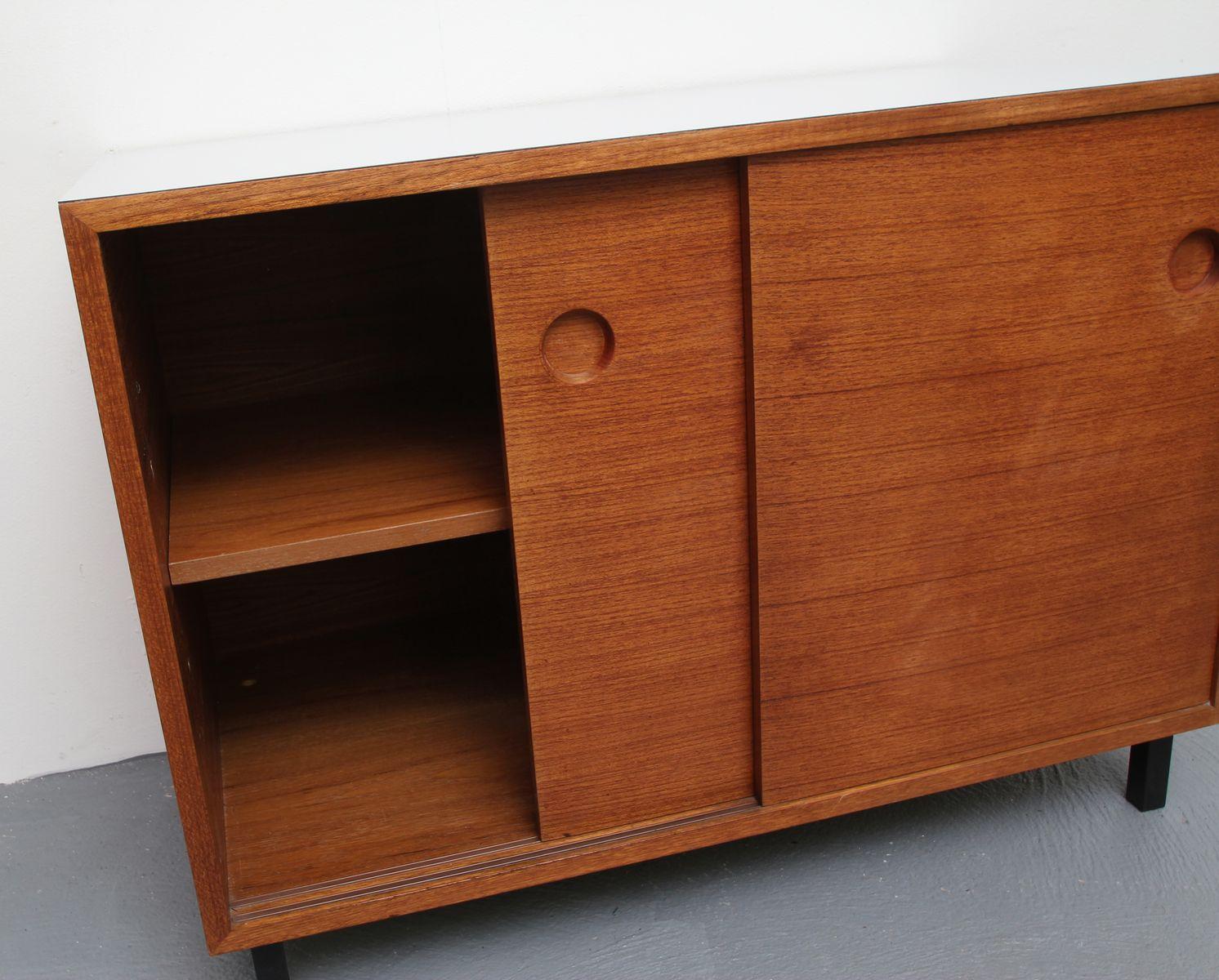 Teak veneer resopal sideboard with sliding doors 1960s for sale price per piece vtopaller Gallery