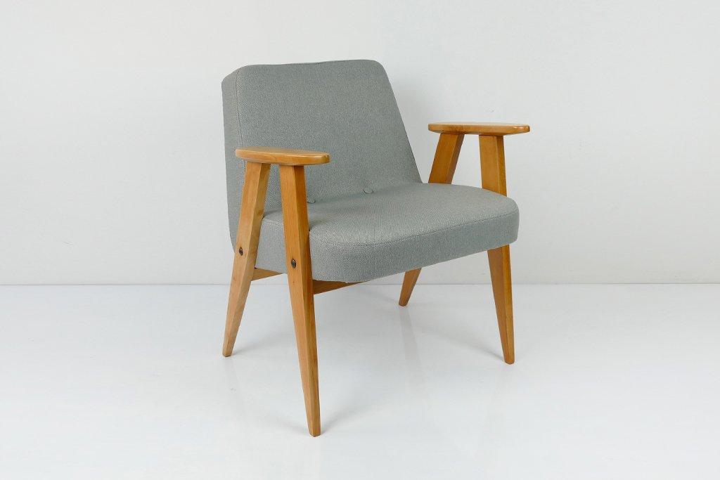 grauer vintage modell 366 sessel von j zef chierowski bei. Black Bedroom Furniture Sets. Home Design Ideas