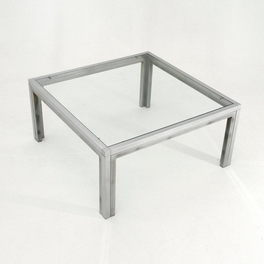 table basse carr e en chrome et verre italie 1970s en vente sur pamono. Black Bedroom Furniture Sets. Home Design Ideas