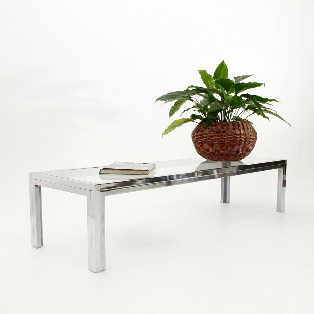 italienischer couchtisch aus glas chrom bei pamono kaufen. Black Bedroom Furniture Sets. Home Design Ideas