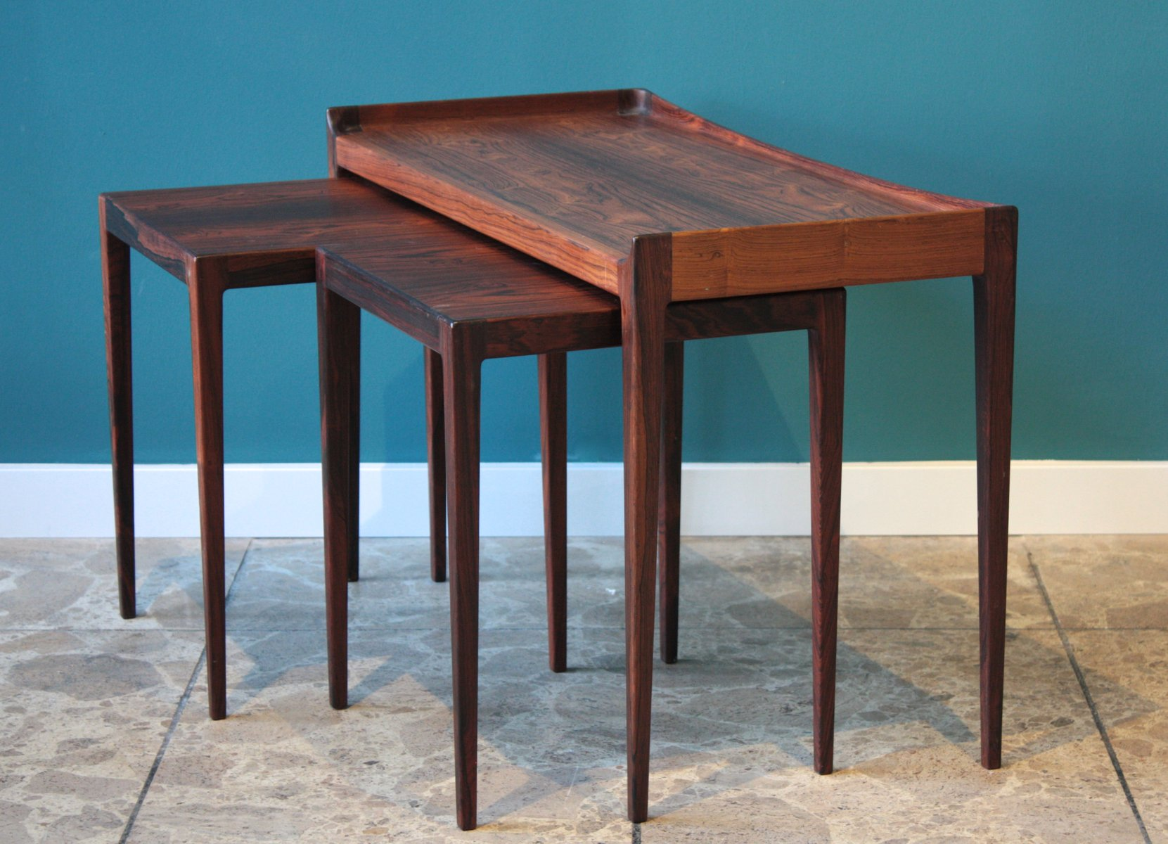 Mid Century Danish Rosewood Nesting Tables By Kurt Ostervig For Jason Mobler
