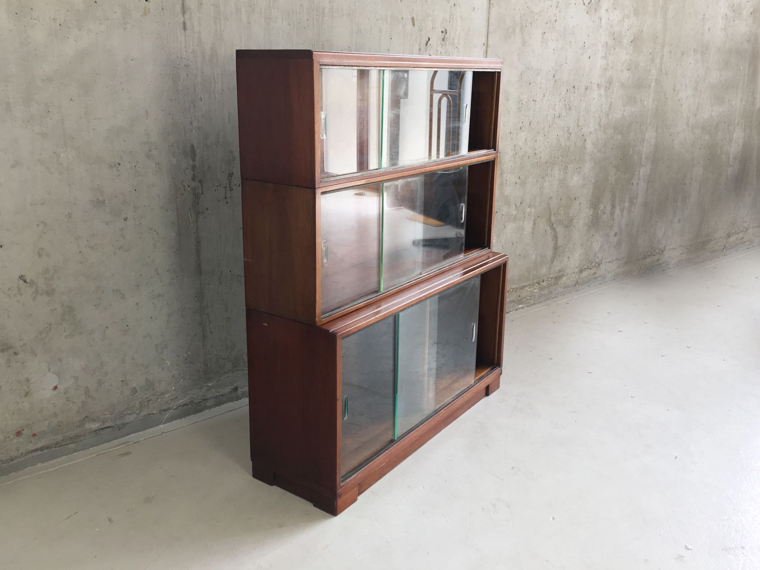3tier Bookcase With Sliding Glass Doors From Minty, 1960s