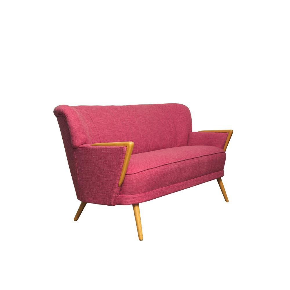 rosa mid century zwei sitzer sofa 1960er bei pamono kaufen. Black Bedroom Furniture Sets. Home Design Ideas