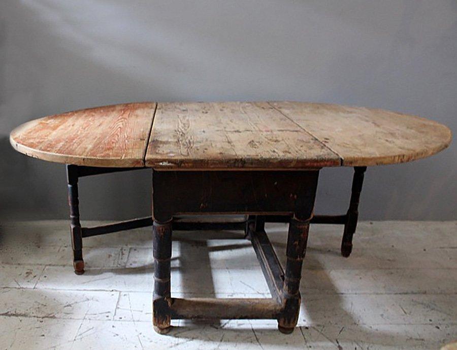 Antique Swedish Rococo Drop Leaf Table