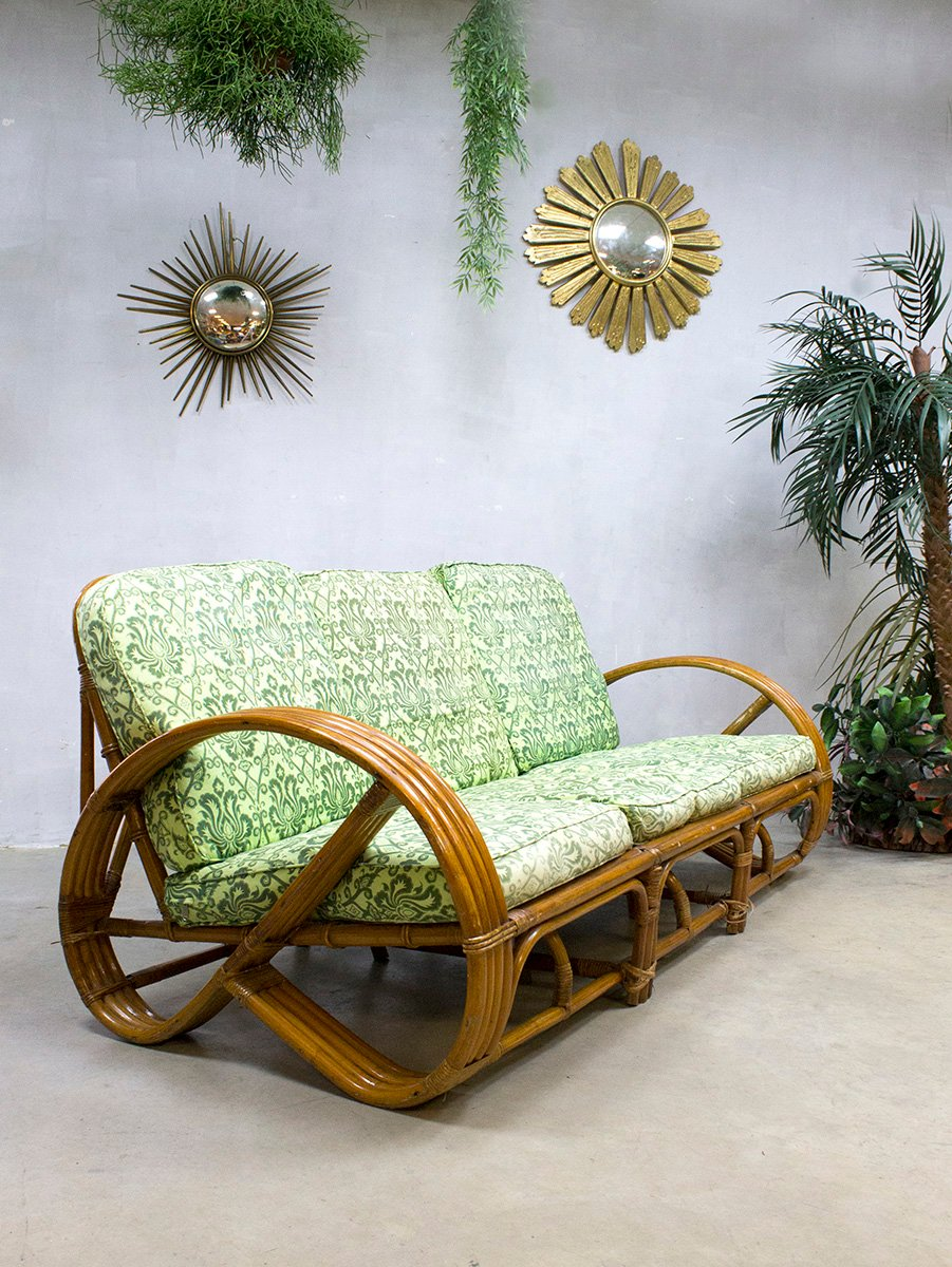 Lounge sofa rattan  Vintage Rattan & Bamboo Lounge Sofa from Rohé Noordwolde for sale ...