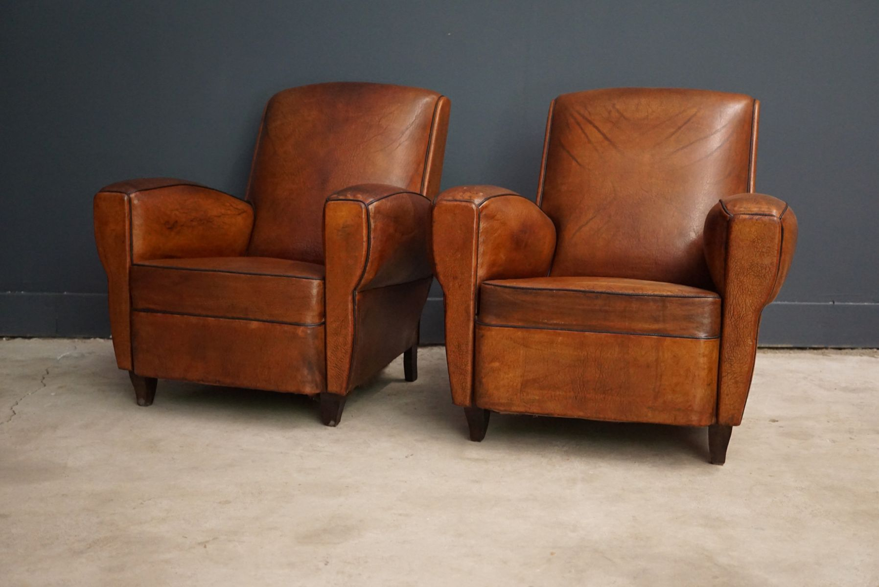 French Leather Club Chairs 1940s Set of 2 for sale at Pamono