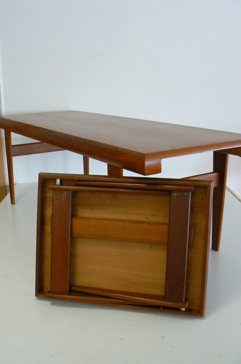 Danish Teak Coffee Table With Built In Nesting Table From Trioh 1970s For Sale At Pamono