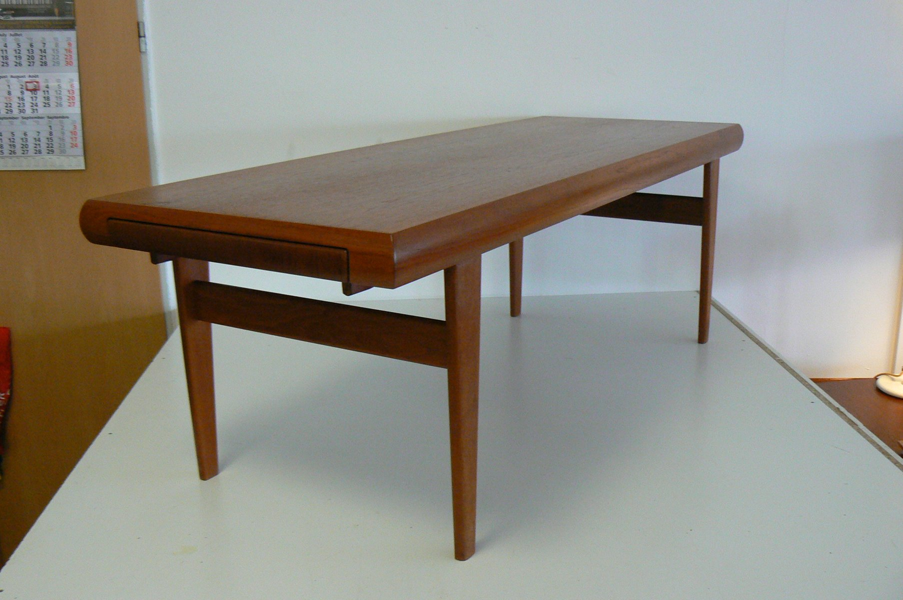 Danish Teak Coffee Table with Built In Nesting Table from Trioh