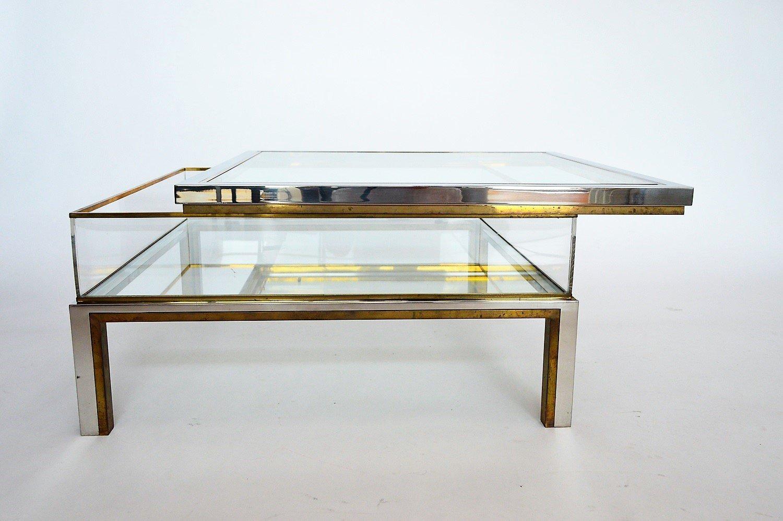 messing chrom couchtisch mit schiebeplatte von maison jansen 1970er bei pamono kaufen. Black Bedroom Furniture Sets. Home Design Ideas
