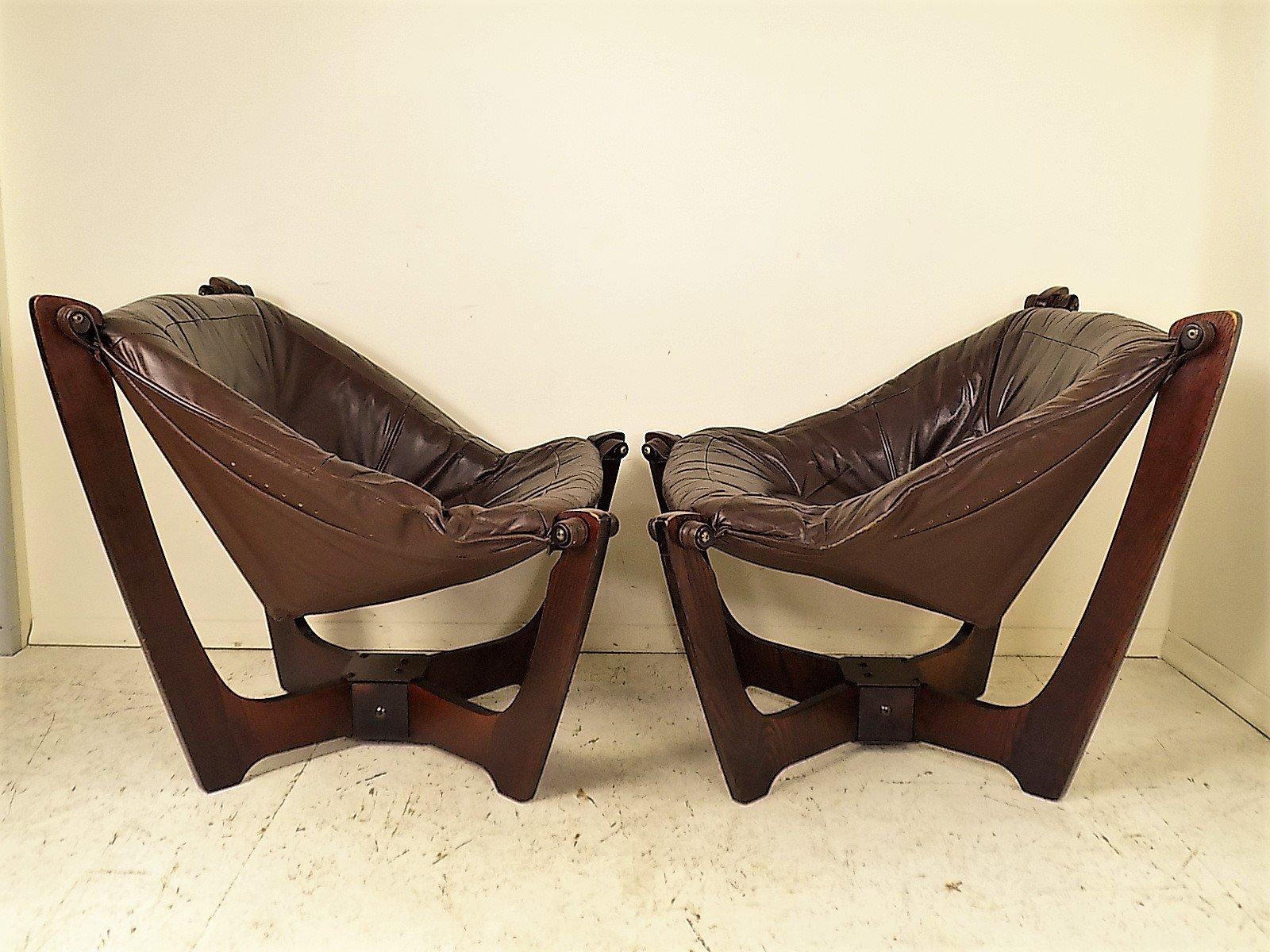Odd Chairs Vintage Luna Lounge Chairsodd Knutsen For Hjellegjerde Set Of