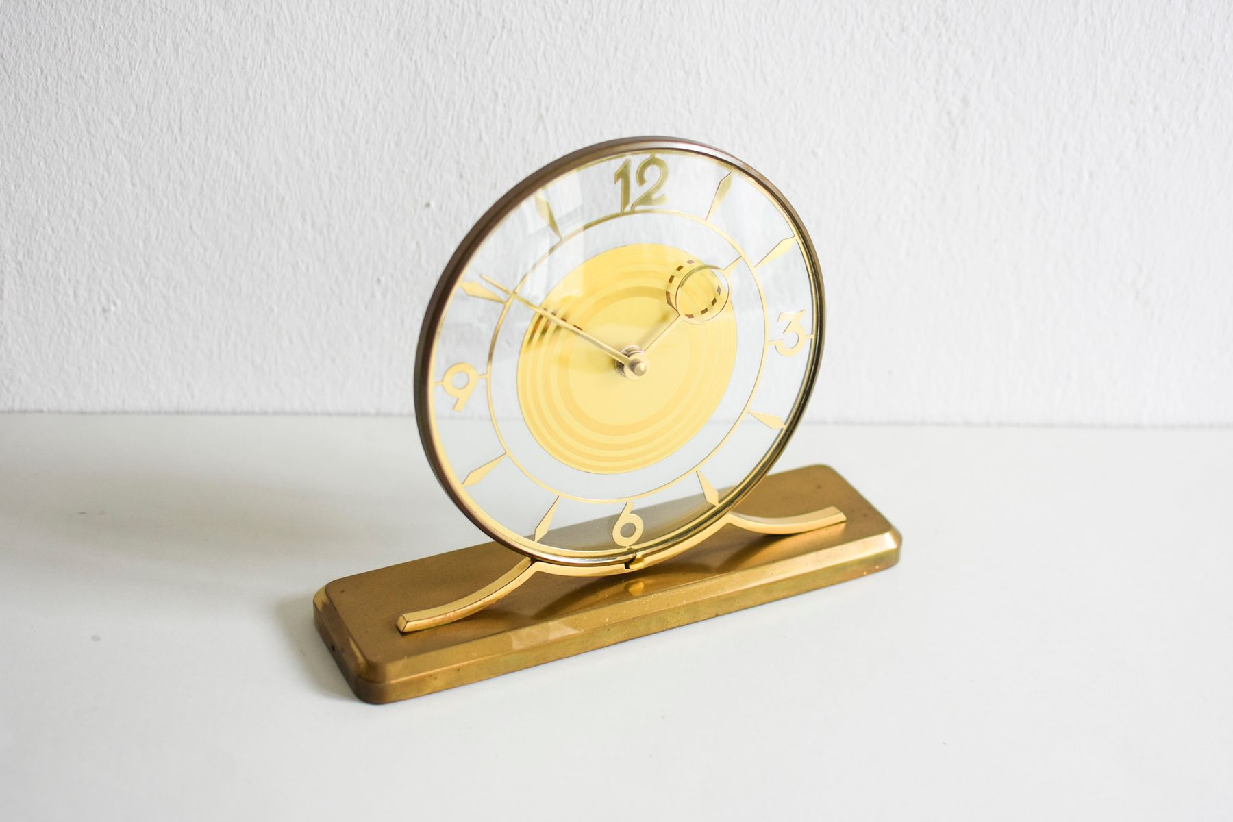 Glass Brass Wall Clock 1960s For Sale At Pamono