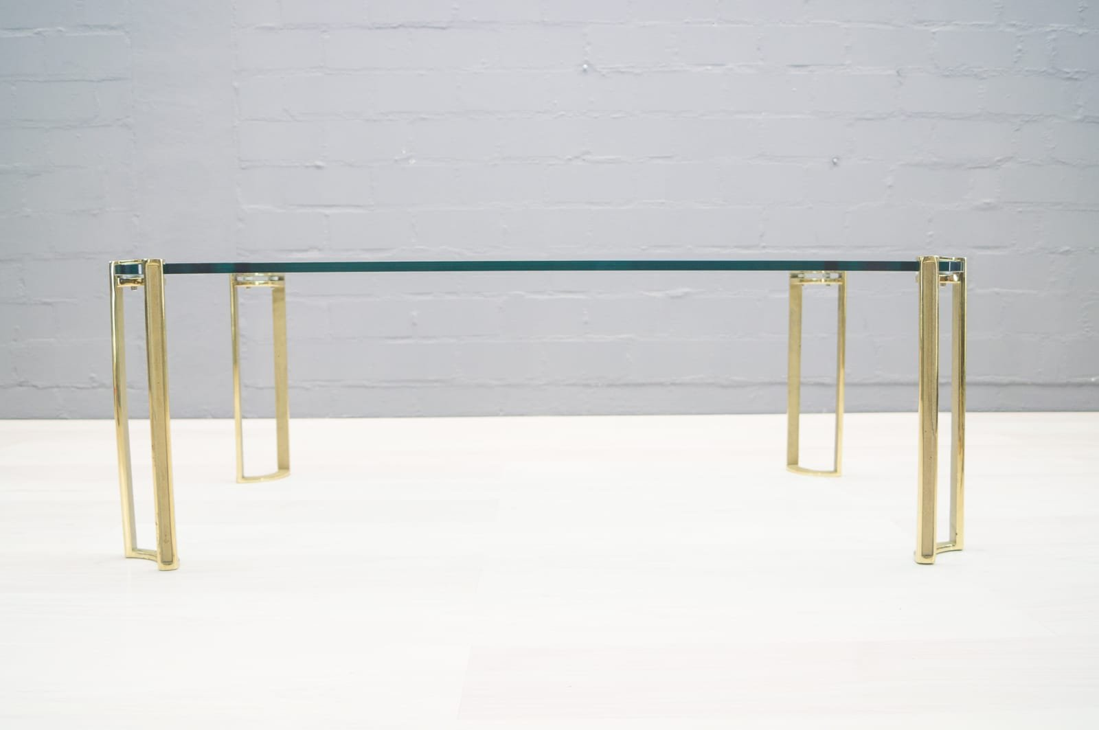 Large Vintage Brass And Glass Coffee Table By Peter Ghyczy