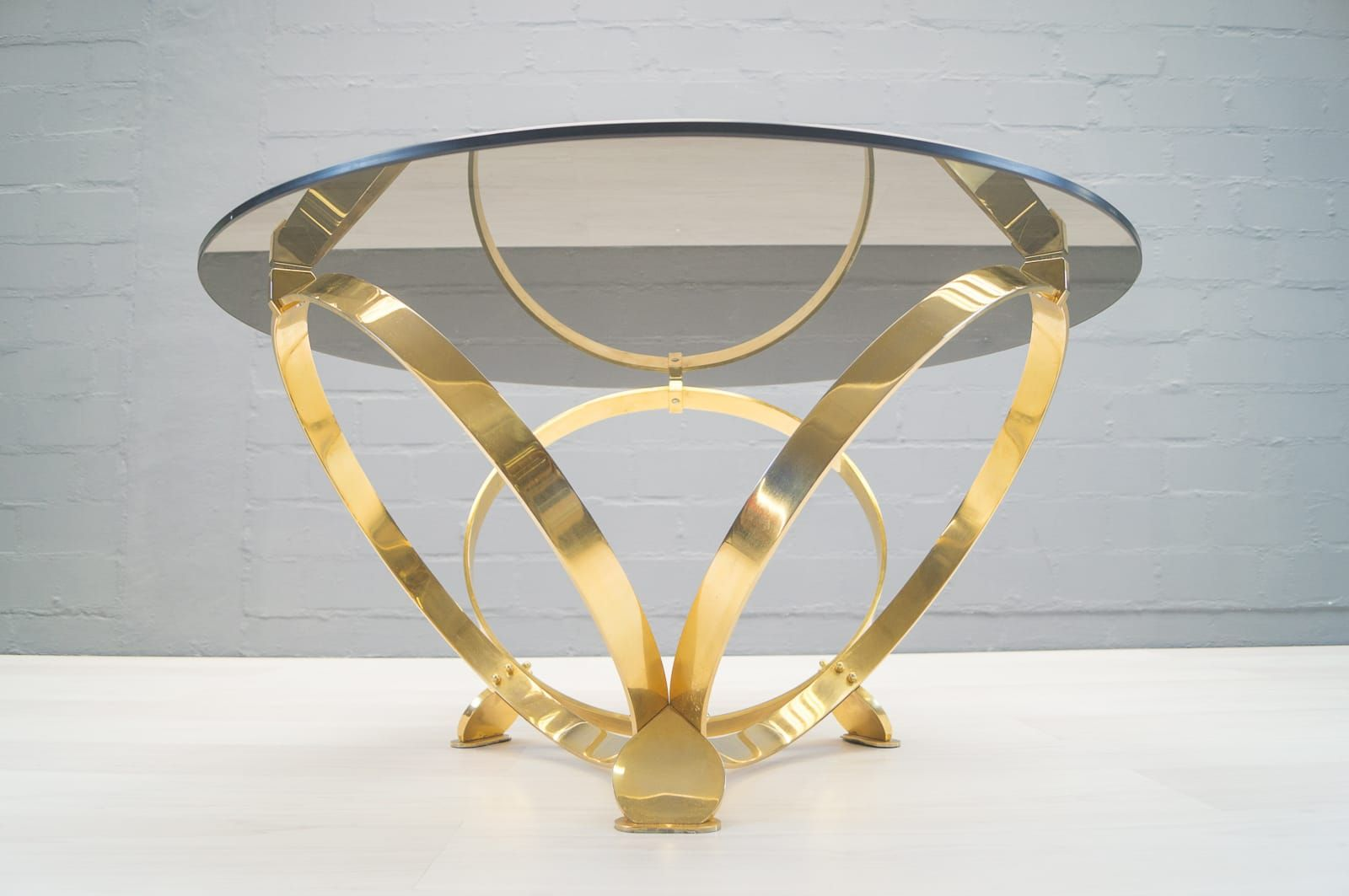 Vintage Brass U0026 Smoked Glass Coffee Table By Knut Hesterberg For Sale At  Pamono