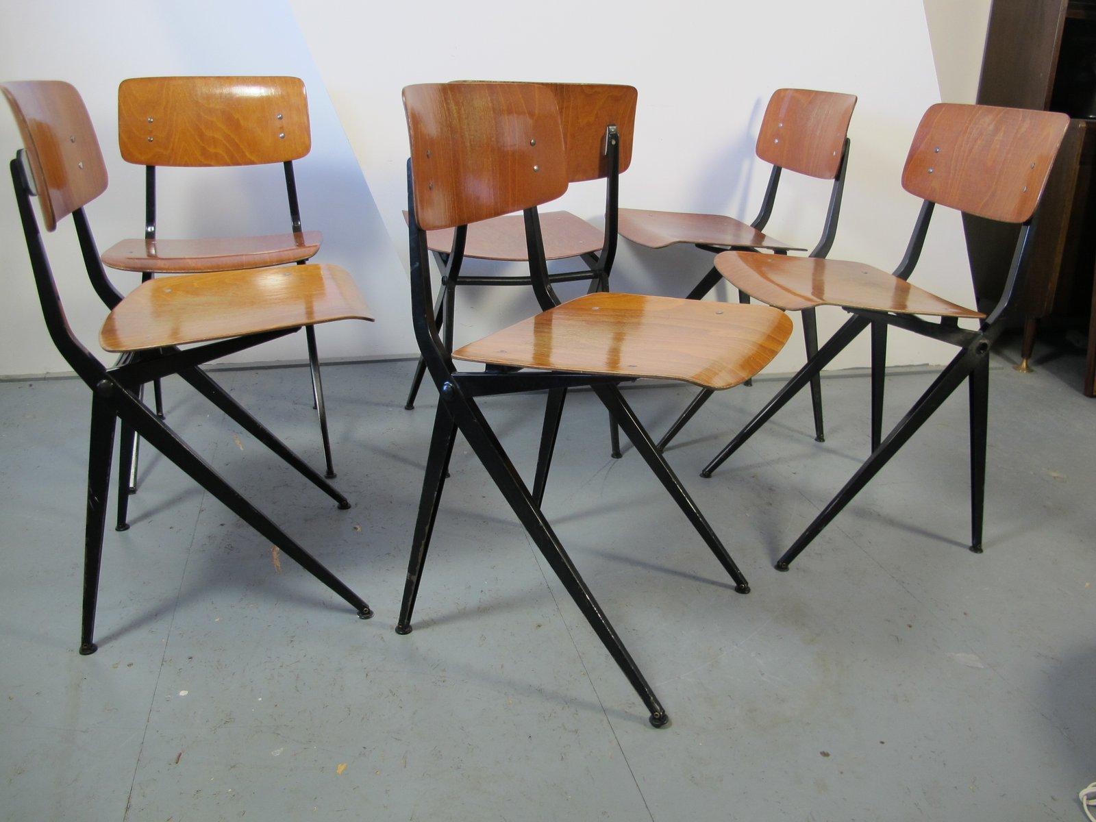 industrielle mid century st hle aus stahl holz von marko 6er set bei pamono kaufen. Black Bedroom Furniture Sets. Home Design Ideas