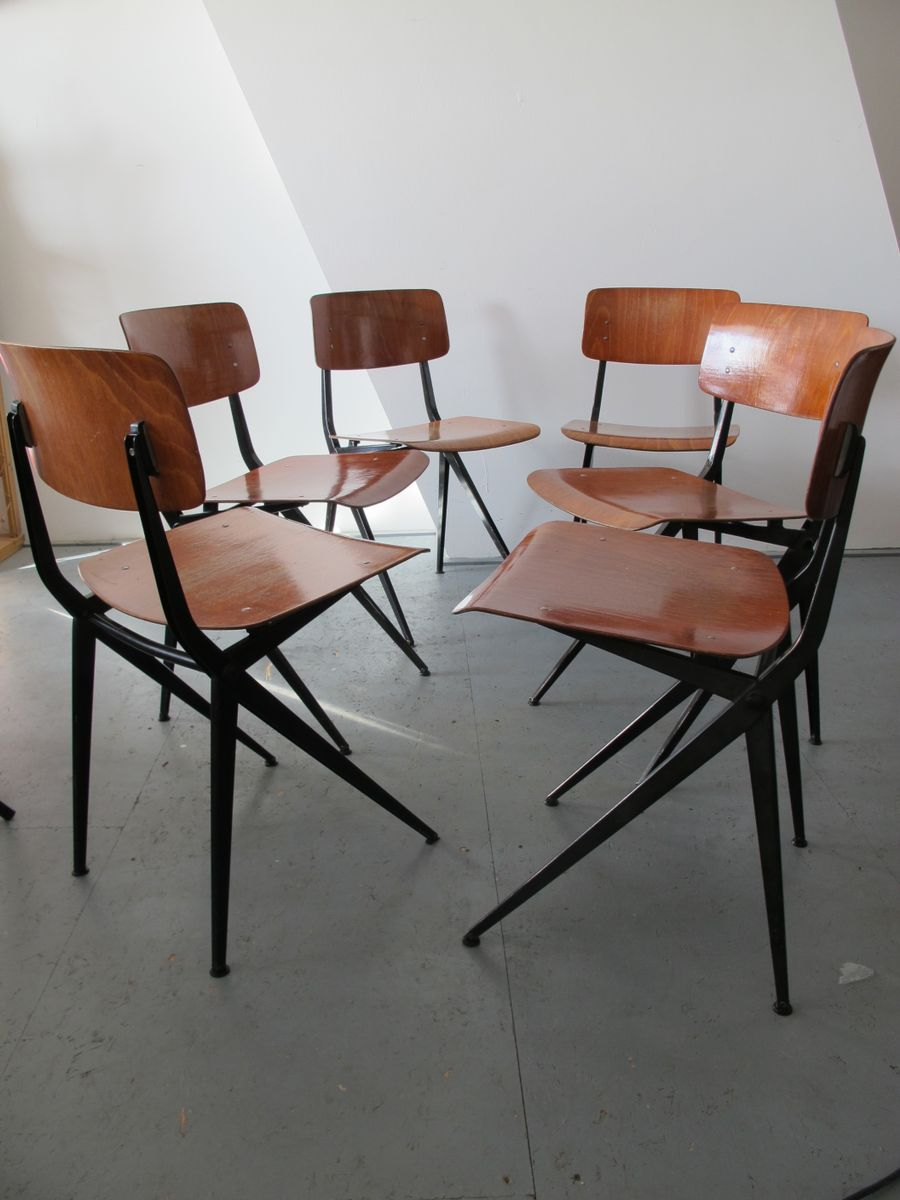 industrielle mid century st hle aus stahl holz von marko. Black Bedroom Furniture Sets. Home Design Ideas