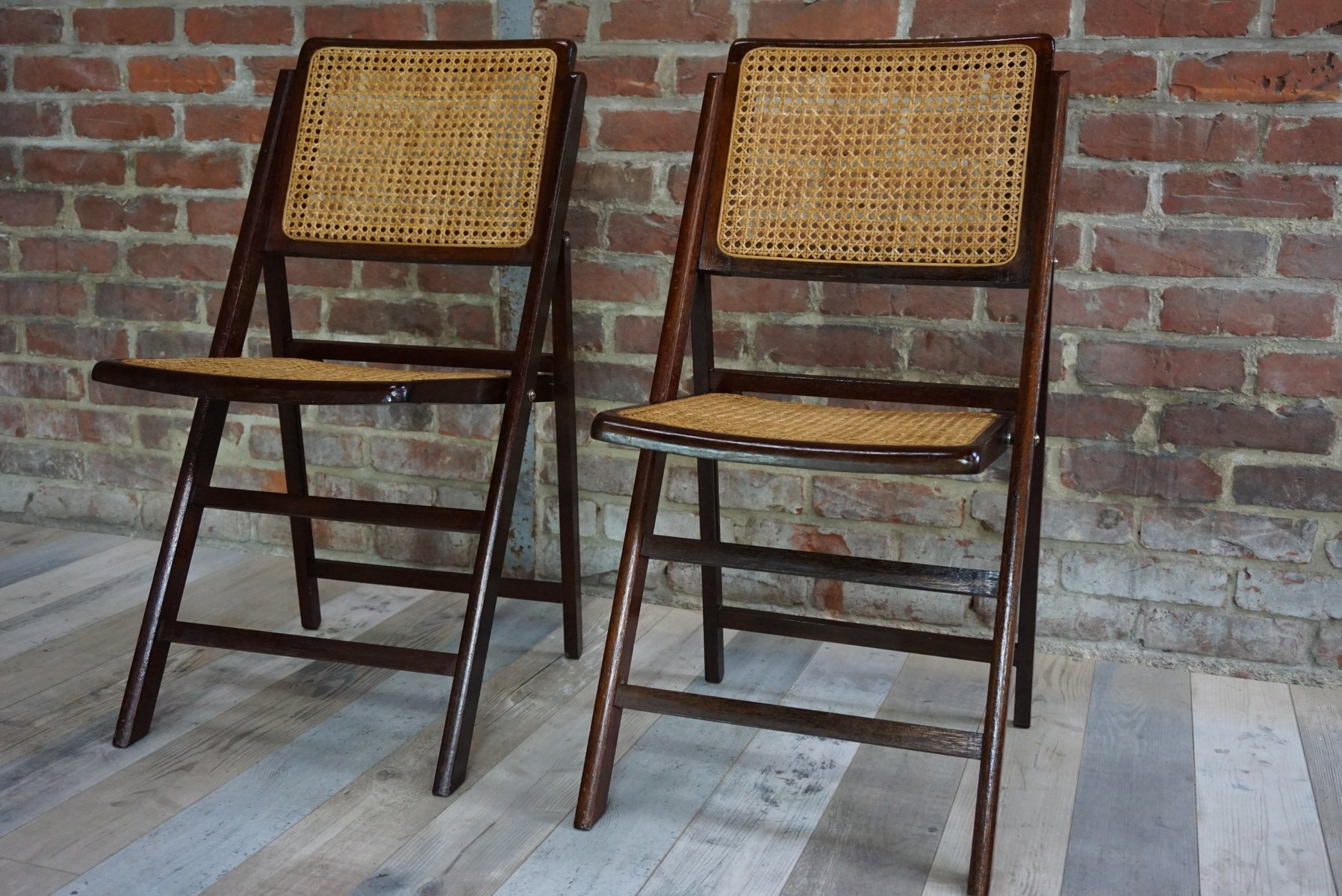 Wood & Cane Folding Chairs 1960s Set of 2 for sale at Pamono