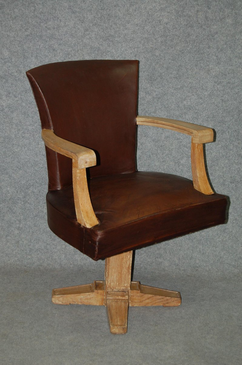 Art deco leather office chair 1930s for sale at pamono for Chair design 1930