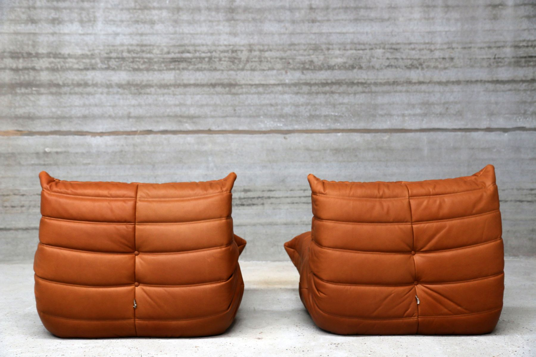 vintage cognac leather togo living room set by michel ducaroy for ligne roset