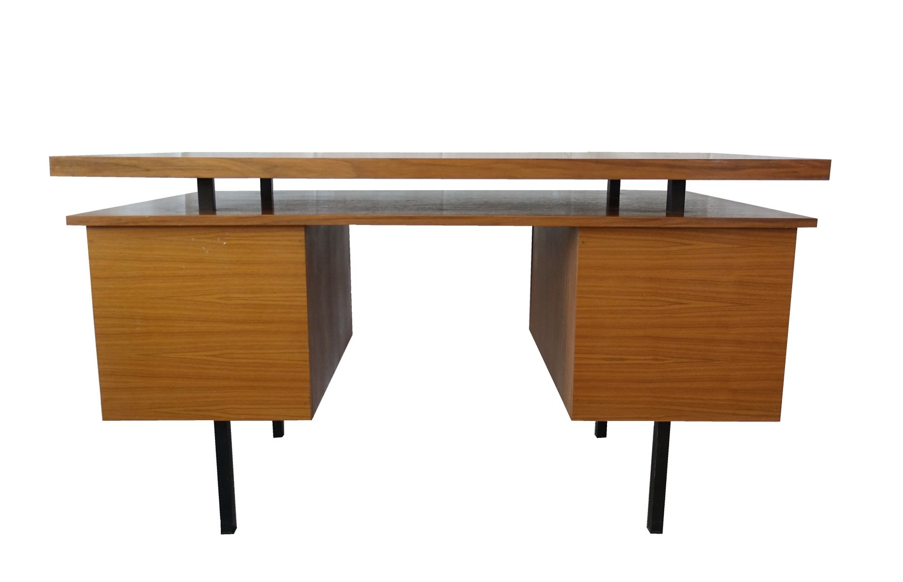 Mid Century German Wooden Desk On Metal Legs For Sale At