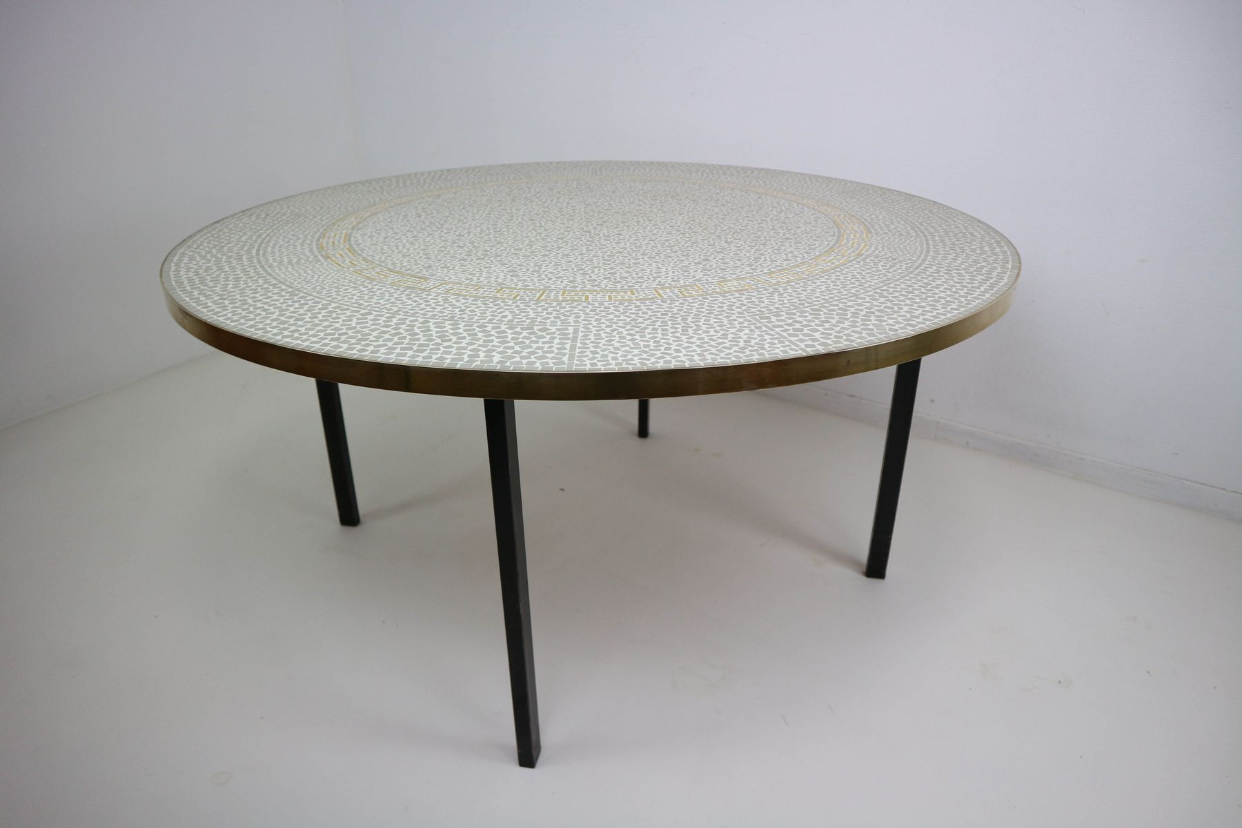 gold plated mosaic coffee table by berthold muller 1960s. Black Bedroom Furniture Sets. Home Design Ideas