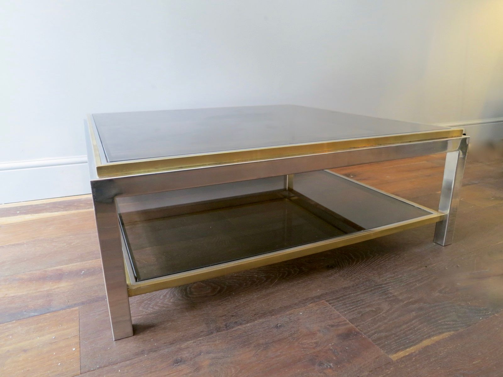 Vintage Square Chrome & Brass Coffee Table by Jean Charles for