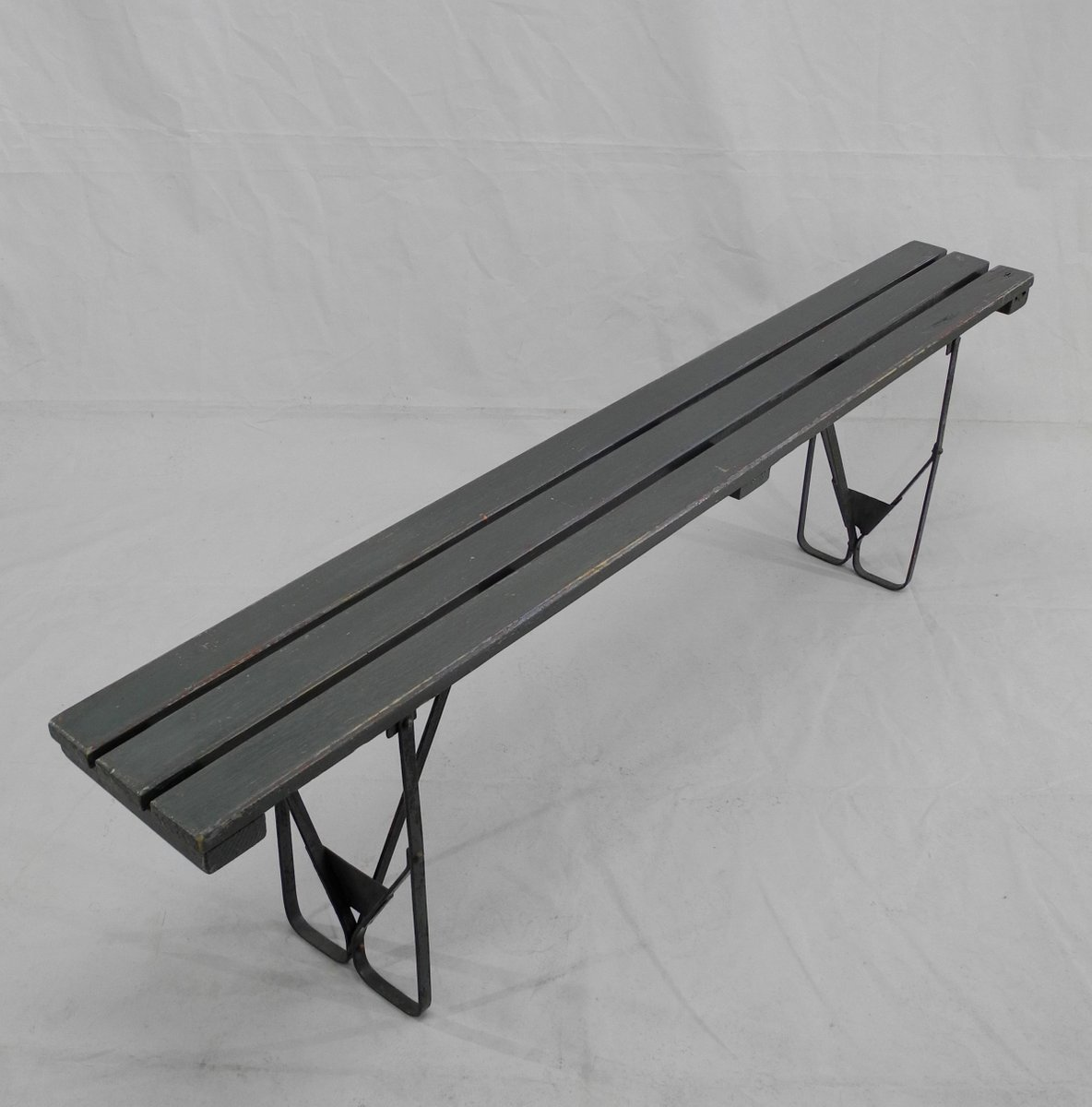 Vintage Wood Metal Folding Bench For Sale At Pamono