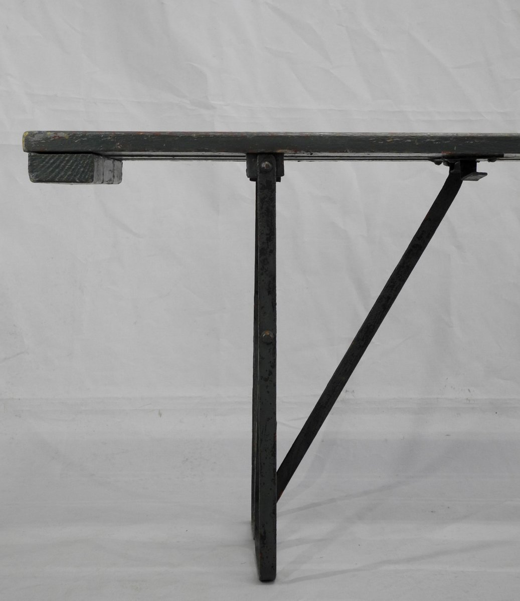 vintage klappbank aus holz metall bei pamono kaufen. Black Bedroom Furniture Sets. Home Design Ideas