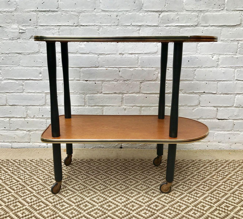 vintage holz glas servierwagen bei pamono kaufen. Black Bedroom Furniture Sets. Home Design Ideas