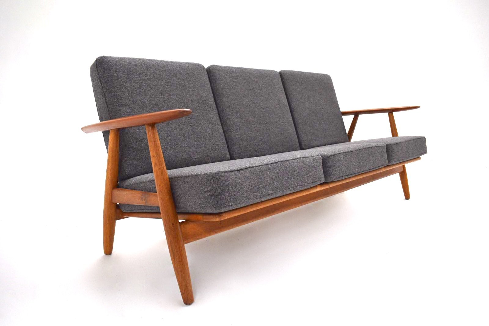 Danish GE 240 Oak, Teak U0026 Gray Wool Cigar Sofa By Hans J. Wegner For  Getama, 1950s