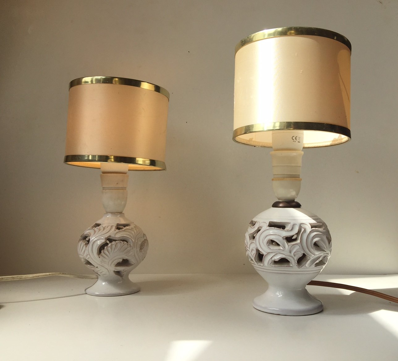 Vintage perforated danish pottery table lamps by michael andersen vintage perforated danish pottery table lamps by michael andersen set of 2 geotapseo Images