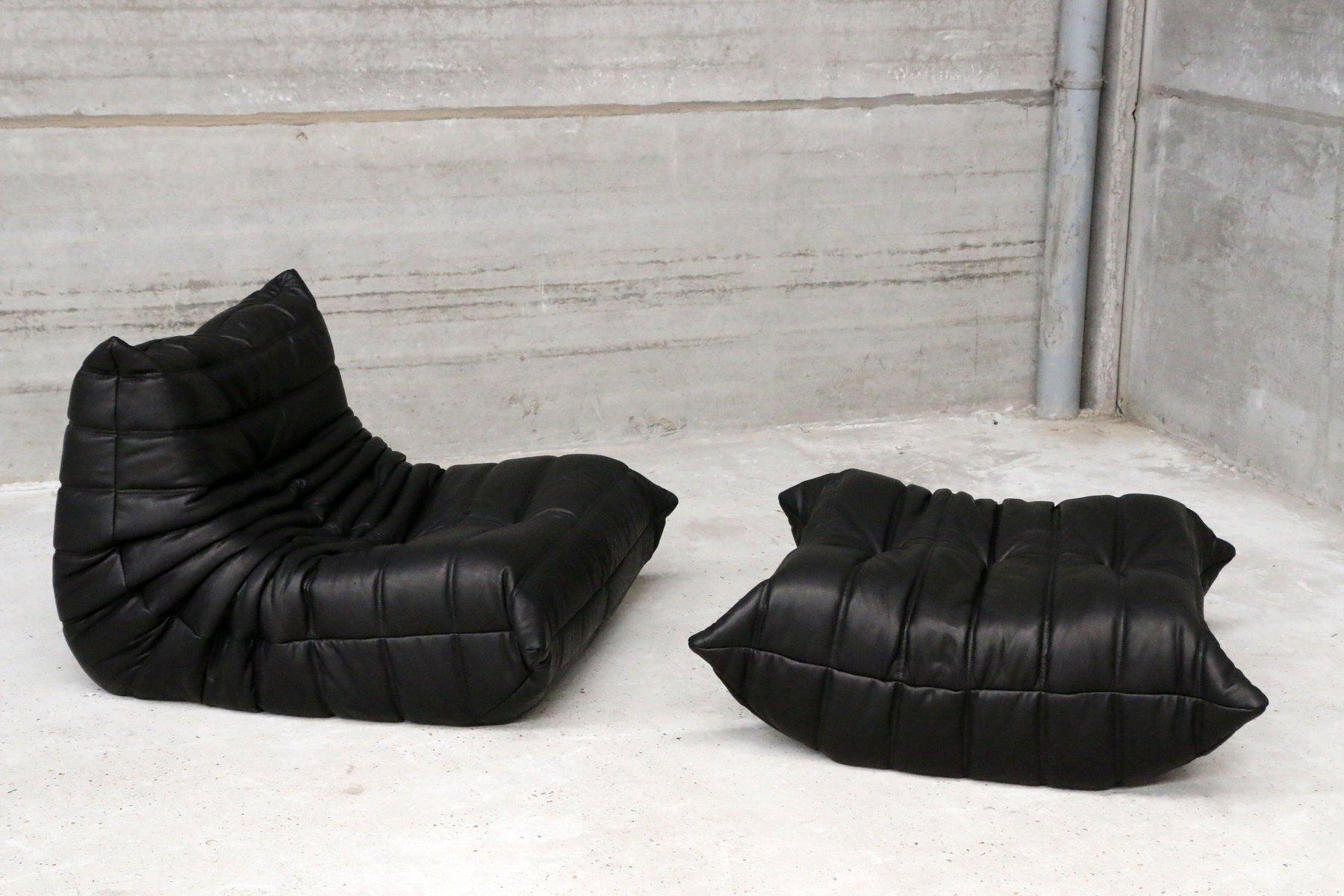 schwarzes vintage togo ledersofa & ottoman von michel ducaroy für, Wohnzimmer dekoo