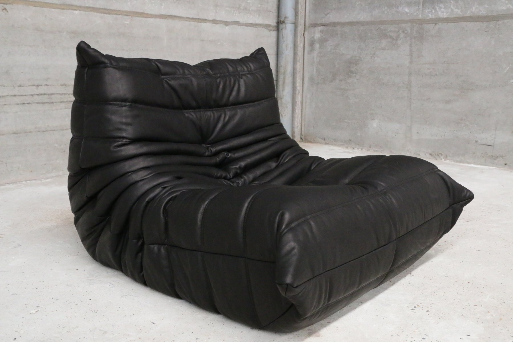 Vintage e Seater Togo Black Leather Sofa & Ottoman by Michel