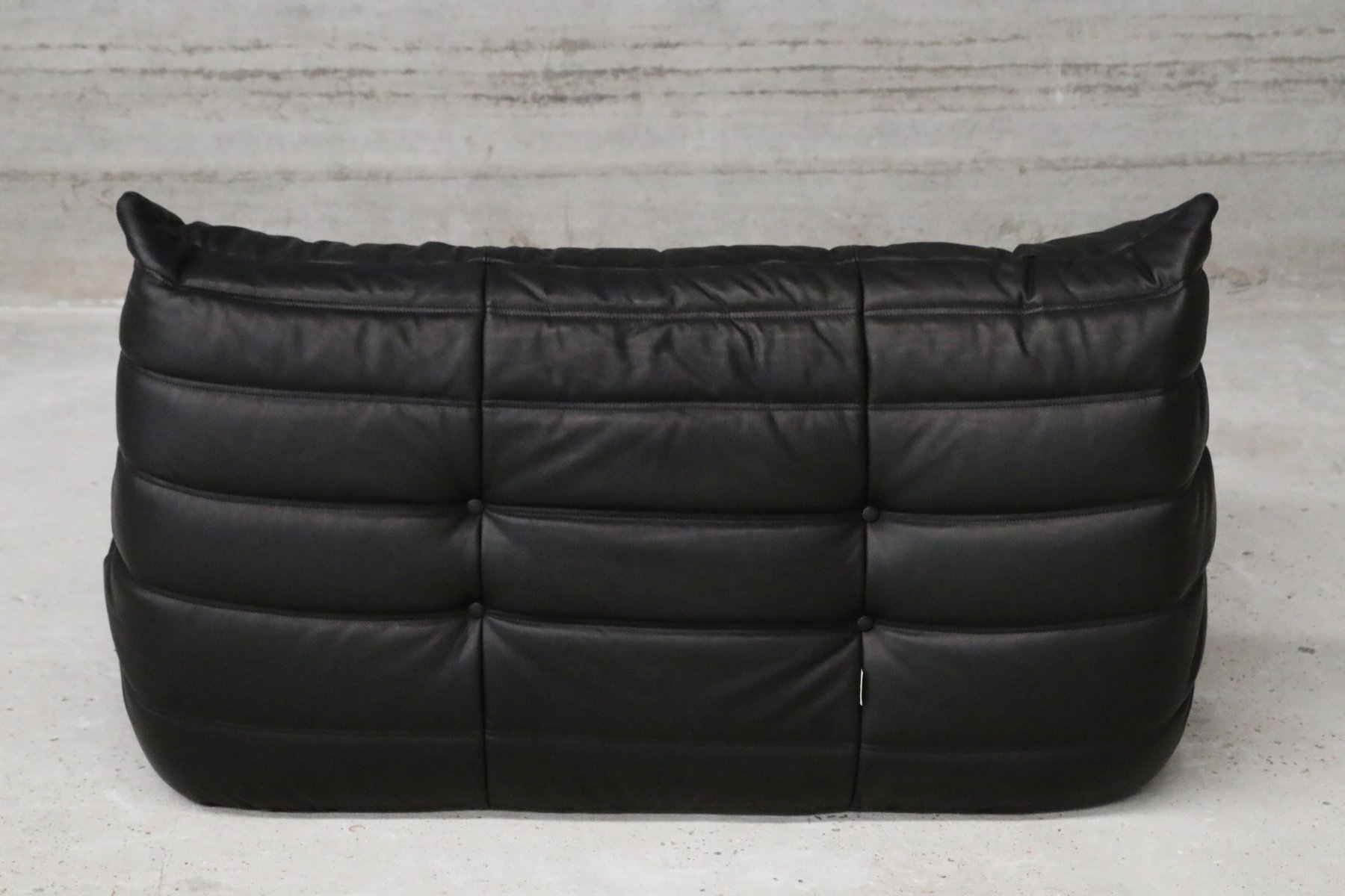 Vintage Two Seater Togo Black Leather Sofa by Michel Ducaroy for