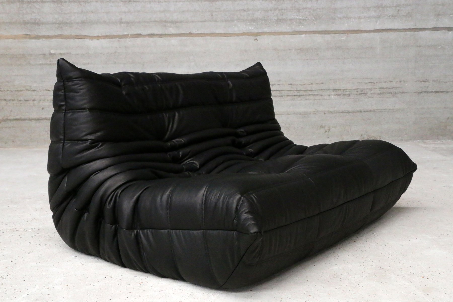 vintage two seater togo black leather sofa by michel. Black Bedroom Furniture Sets. Home Design Ideas