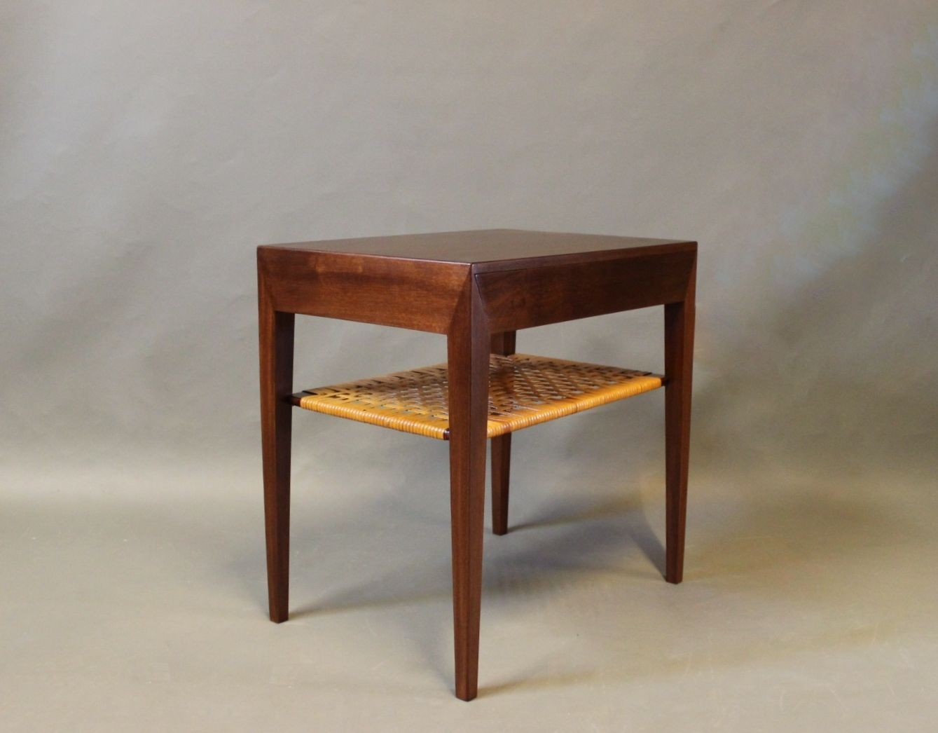 small bedside table in dark wood by severin hansen for