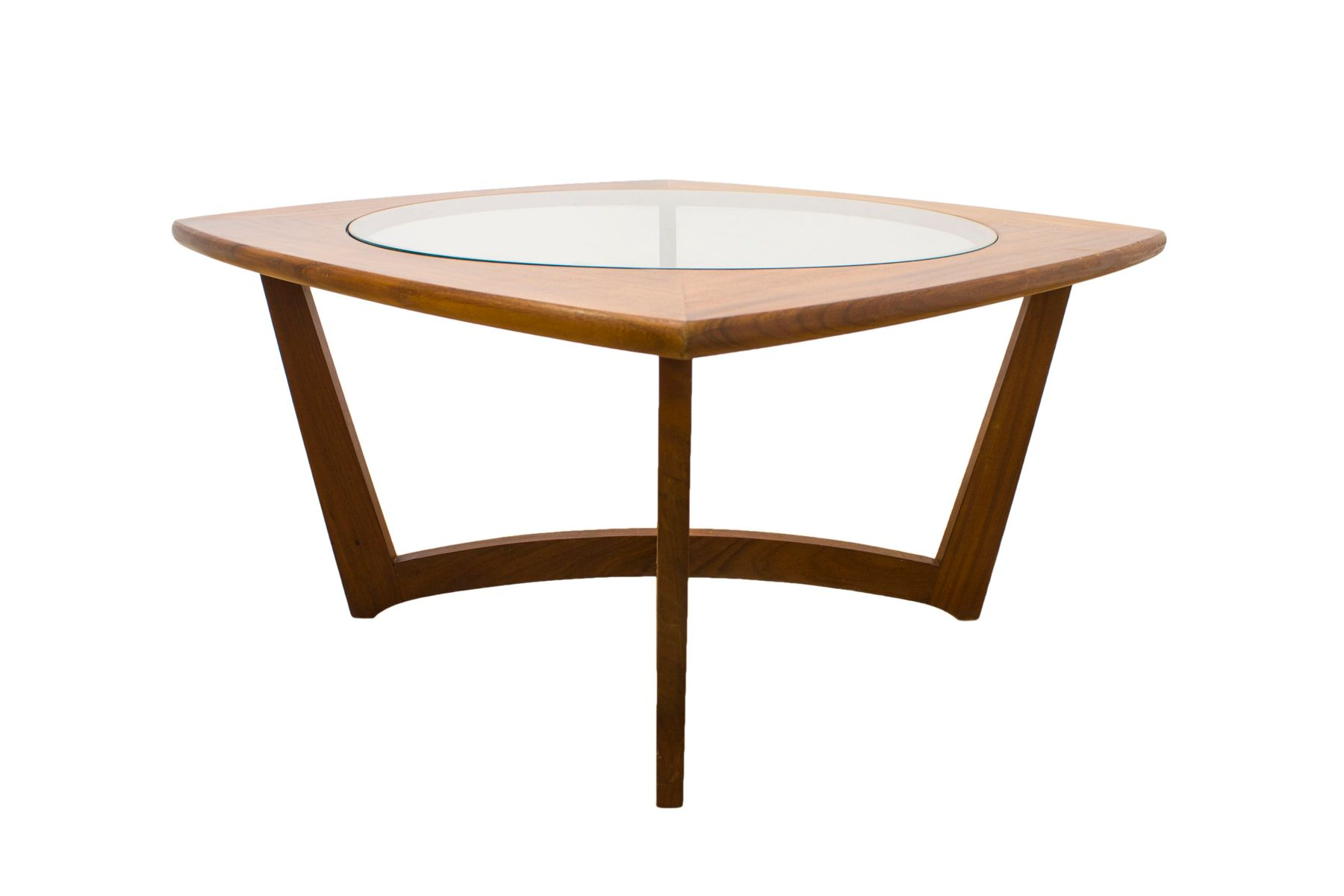 Vintage Danish Teak and Glass Coffee Table for sale at Pamono