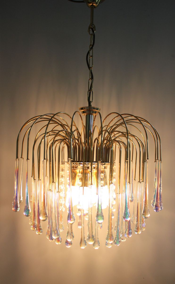 Vintage Brass And Murano Glass Chandelier By Paolo Venini