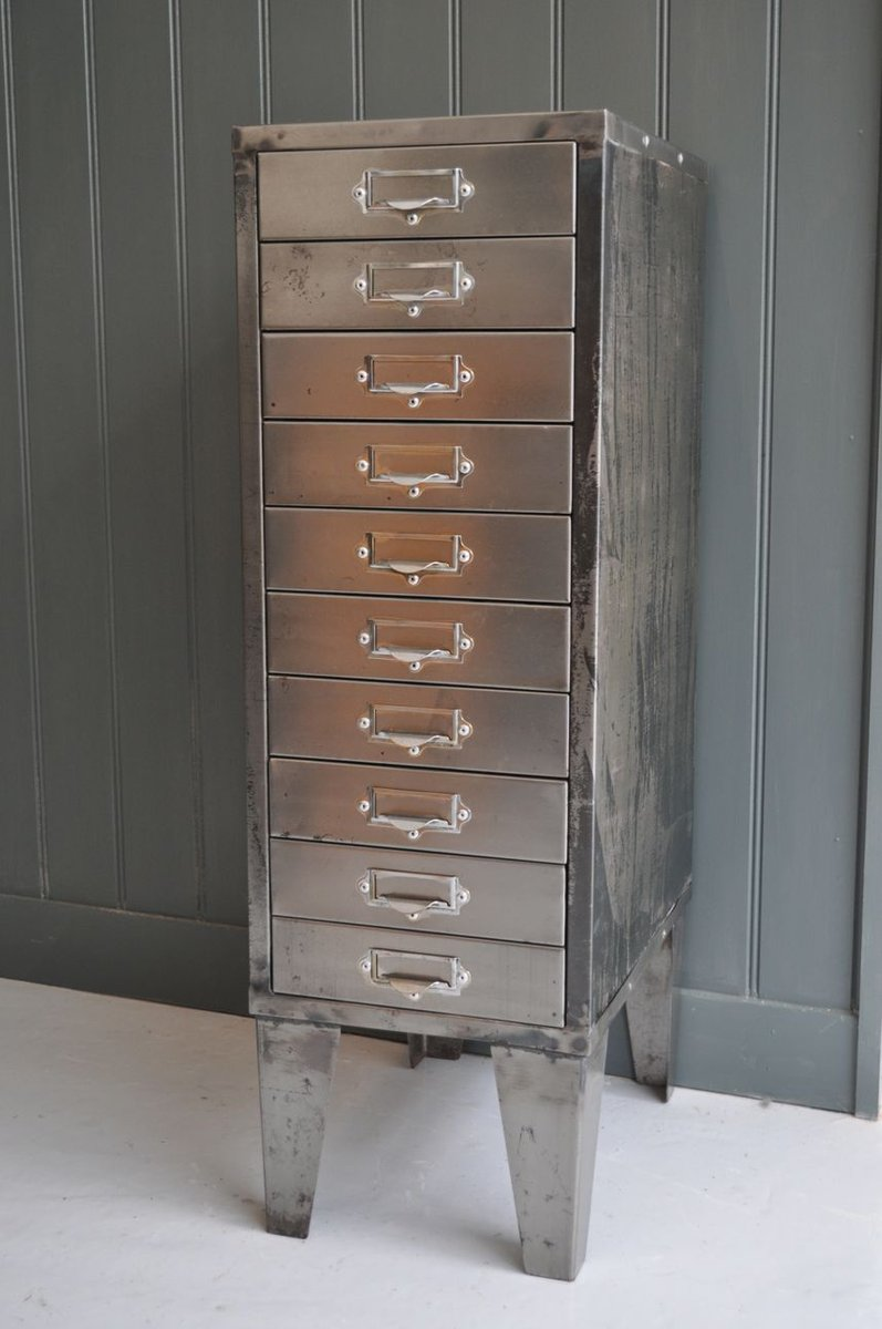 Vintage Metal Cabinet With Drawers For Sale At Pamono