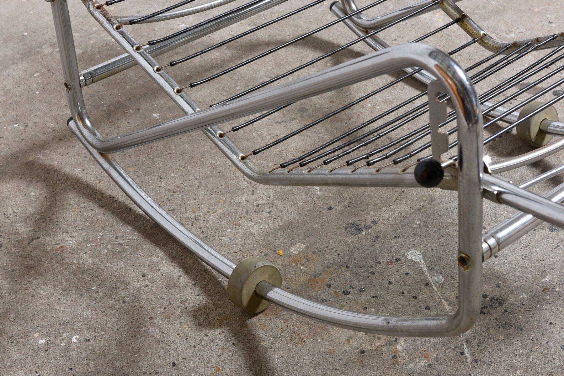Modern savonarola chair - Mid Century Modern Chrome Frame Rocking Chair 1960s For Sale At