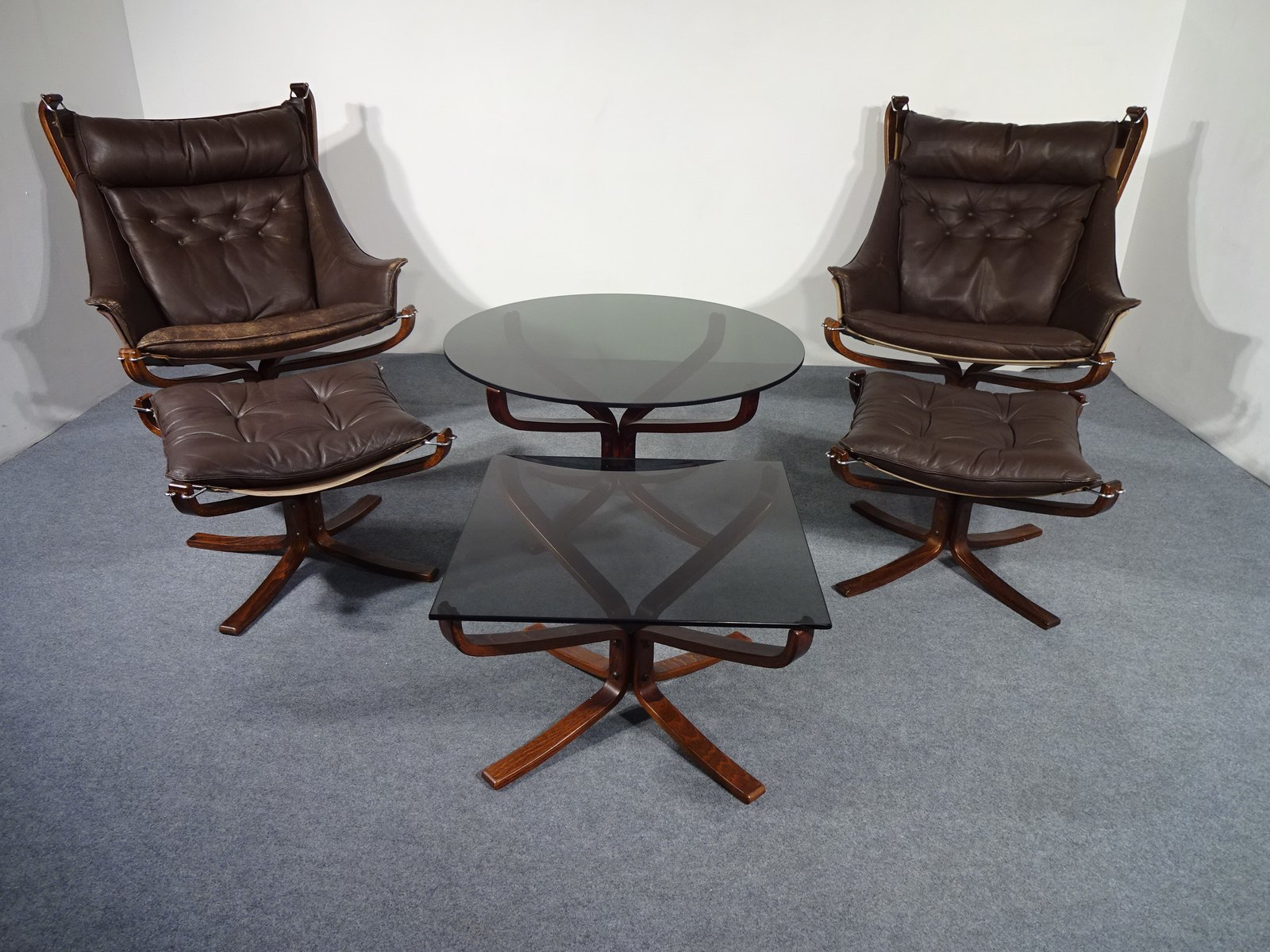 Mid Century Falcon Chairs Ottomans & Tables by Sigurd Ressell for