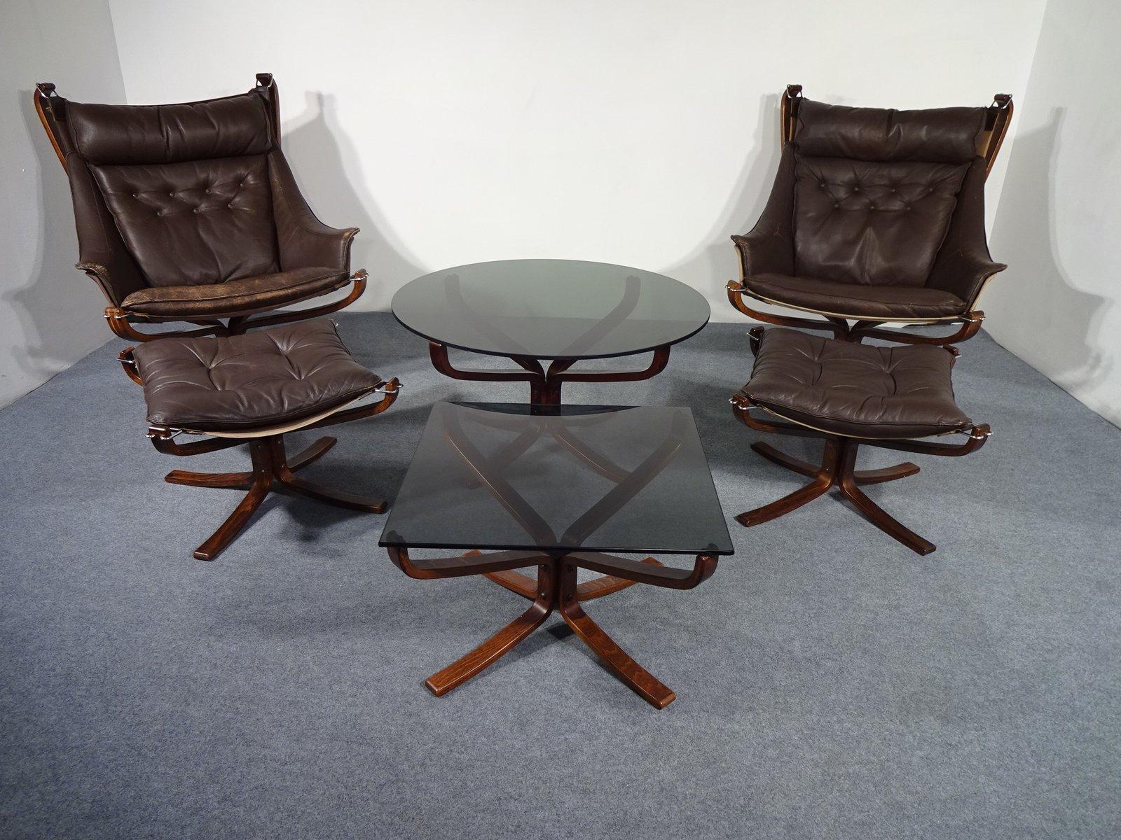 mid century falcon st hle ottomans tische von sigurd ressell f r vatne lenestolfabrikk bei. Black Bedroom Furniture Sets. Home Design Ideas