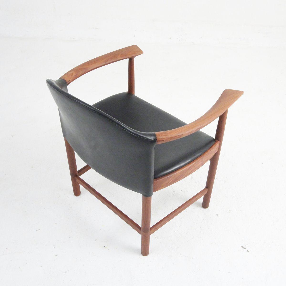 Vintage sessel aus teak schwarzem leder von s borg for Sessel aus leder
