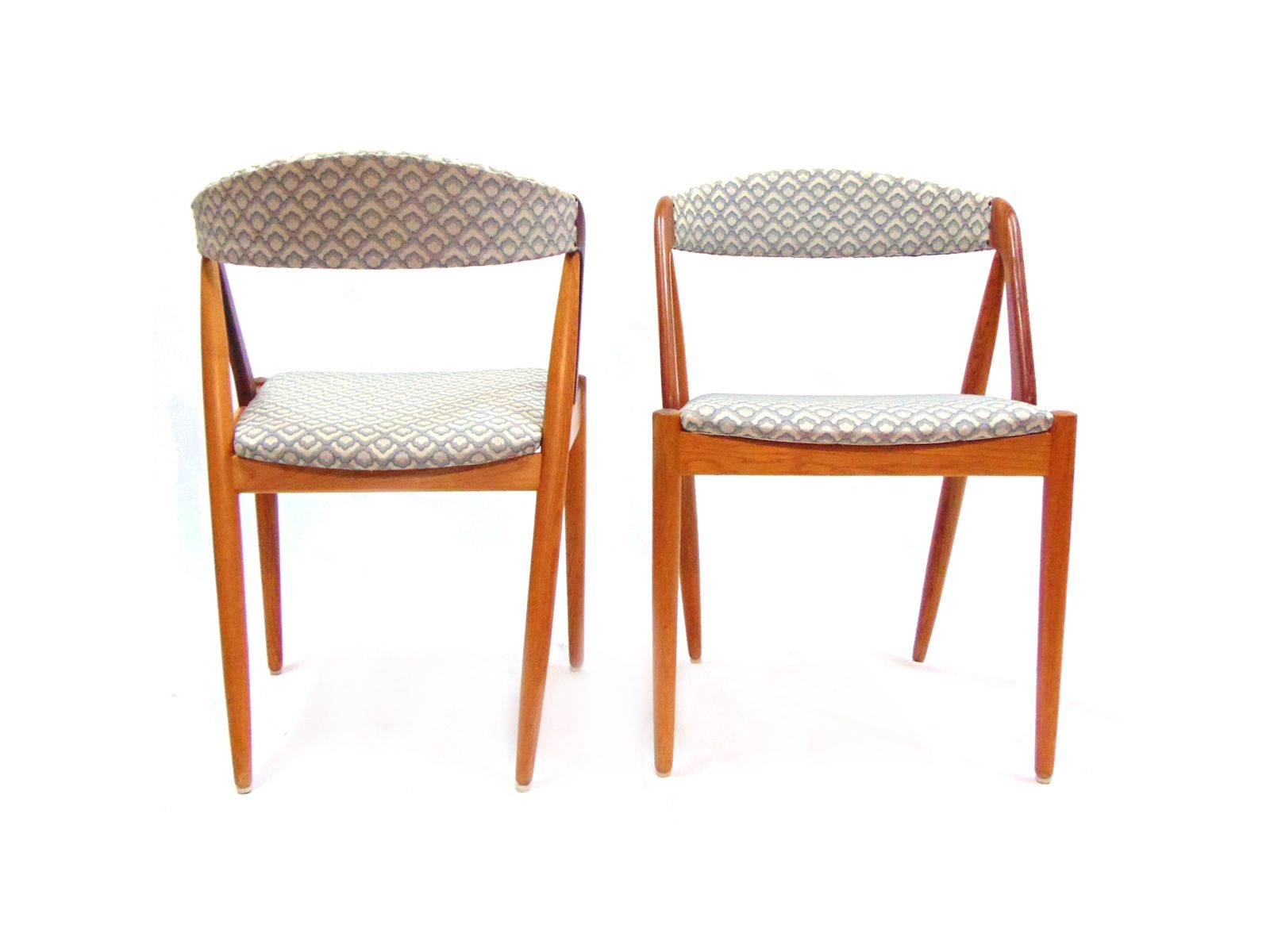 mid-century dining chairs in teak and linen by kai kristiansen for