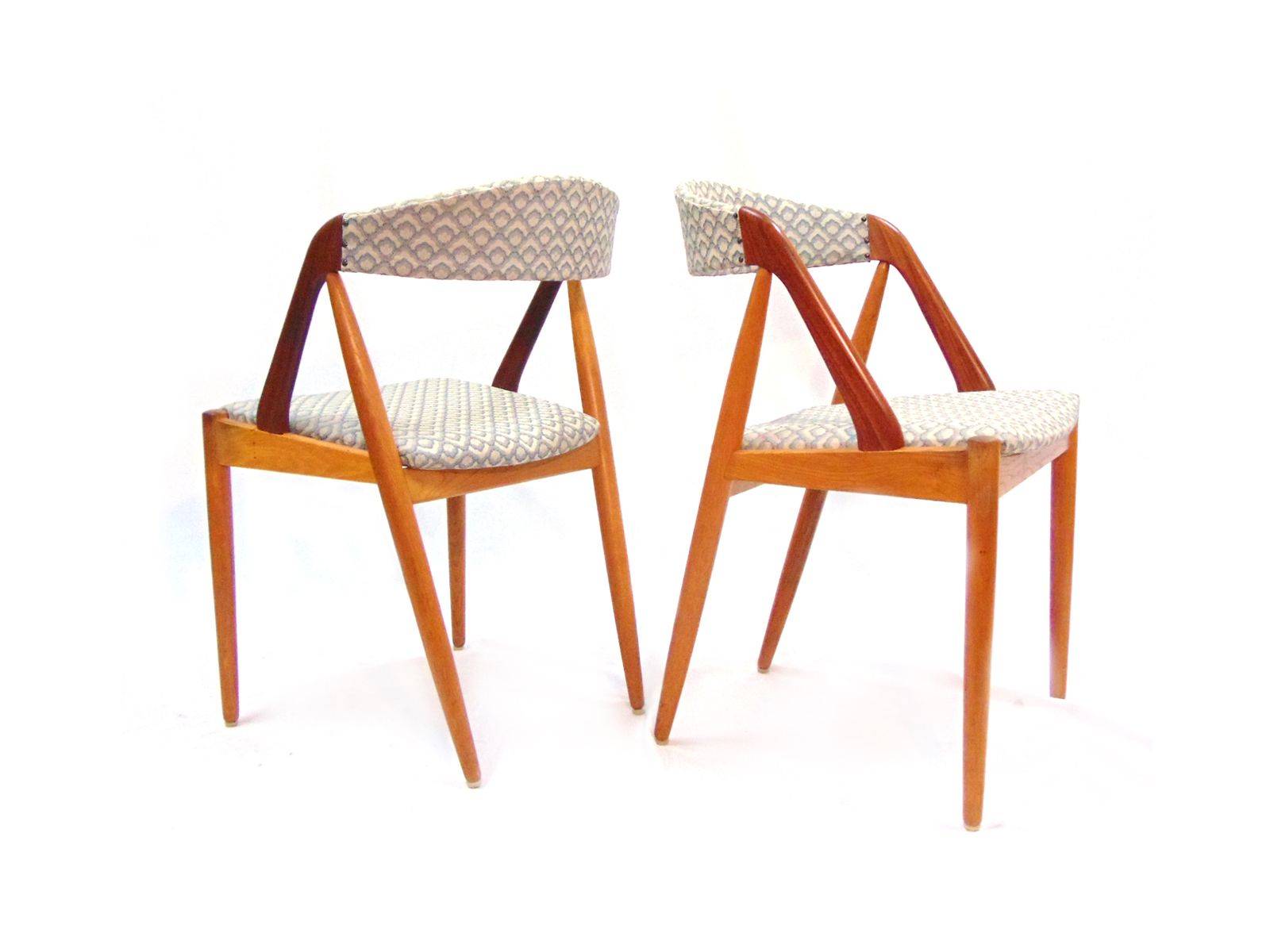Mid Century Dining Chairs in Teak and Linen by Kai Kristiansen for