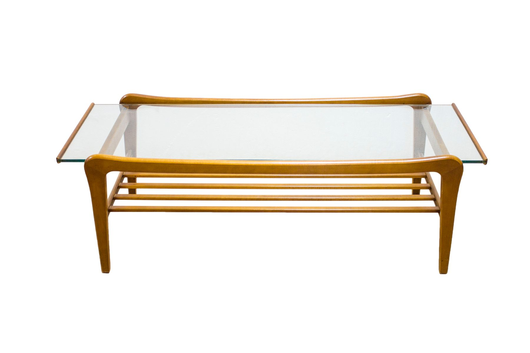 Danish Teak And Glass Coffee Table With Magazine Shelf For Sale At Pamono