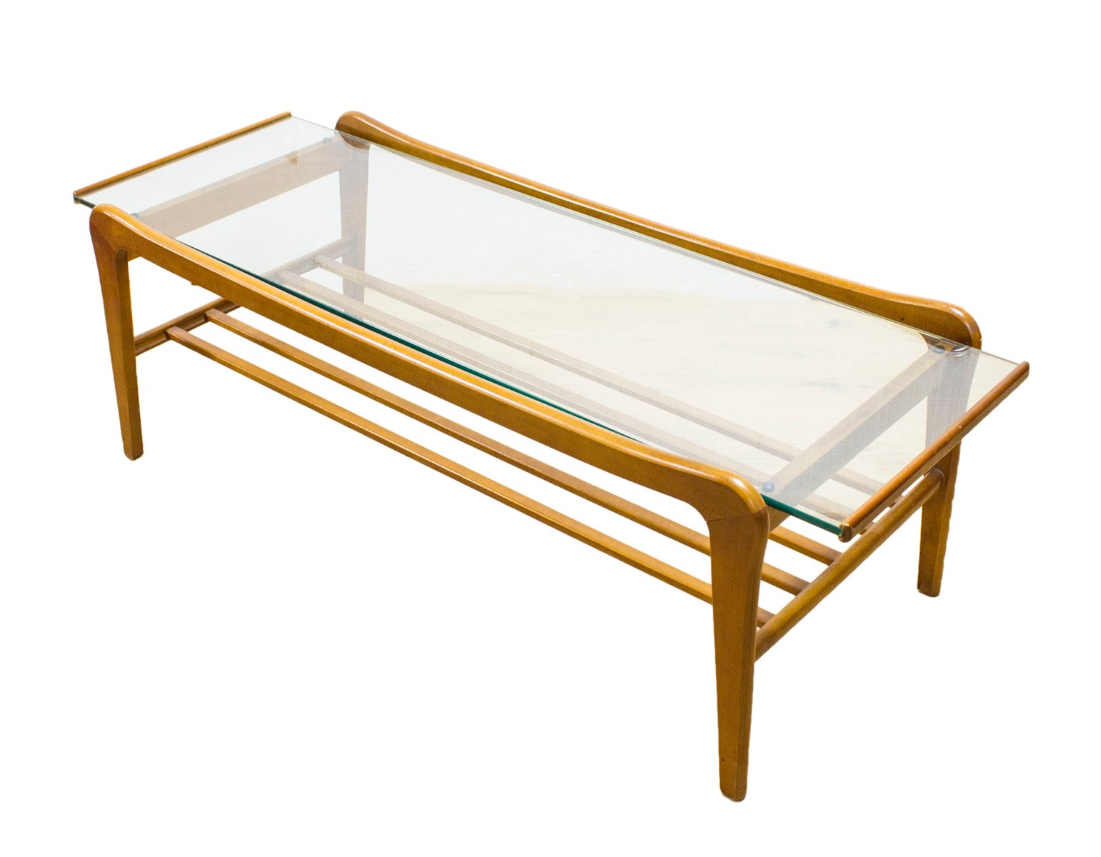 danish teak and glass coffee table with magazine shelf for sale at