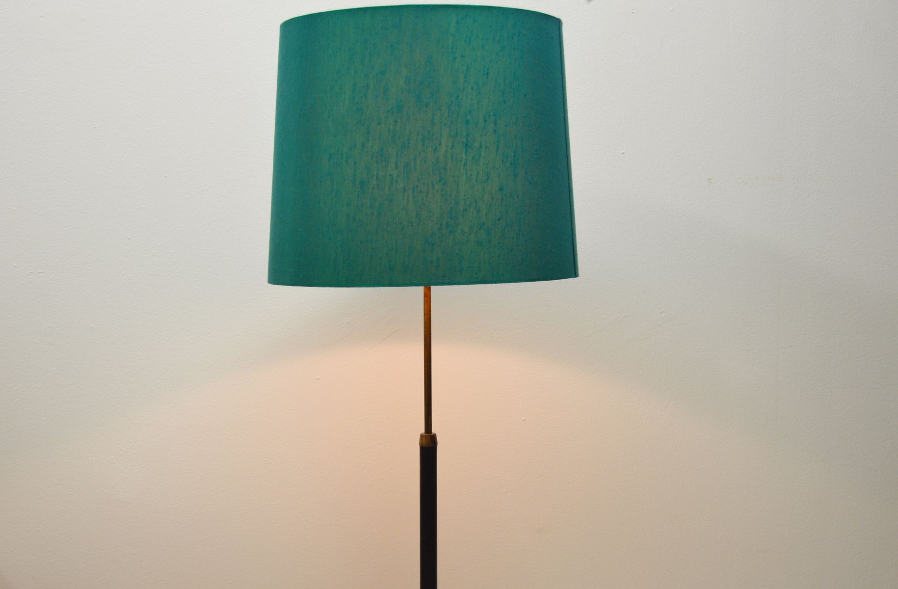 Vintage Leather and Brass Floor Lamp from Falkenbergs Belysning ...