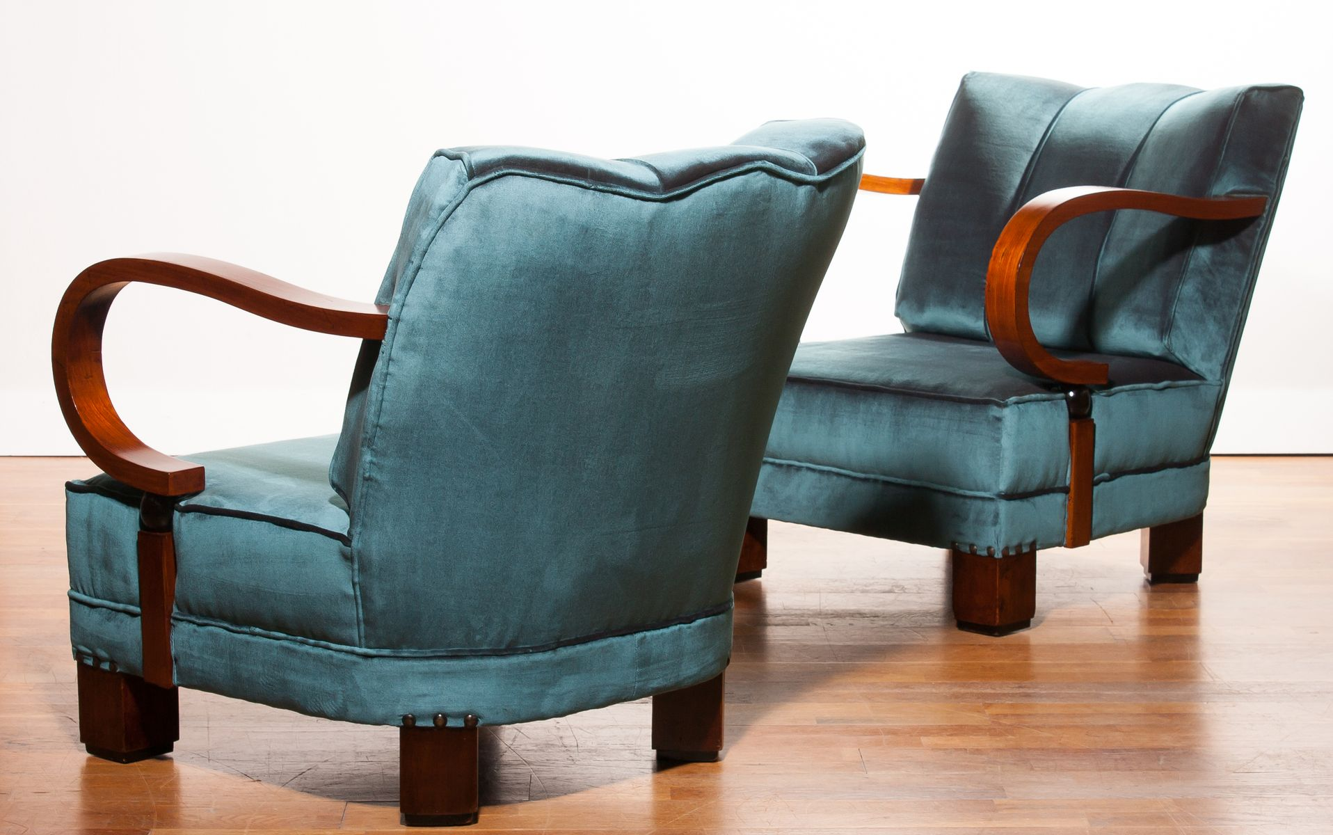 Art Deco Blue Velvet Chairs 1920s Set of 2 for sale at Pamono