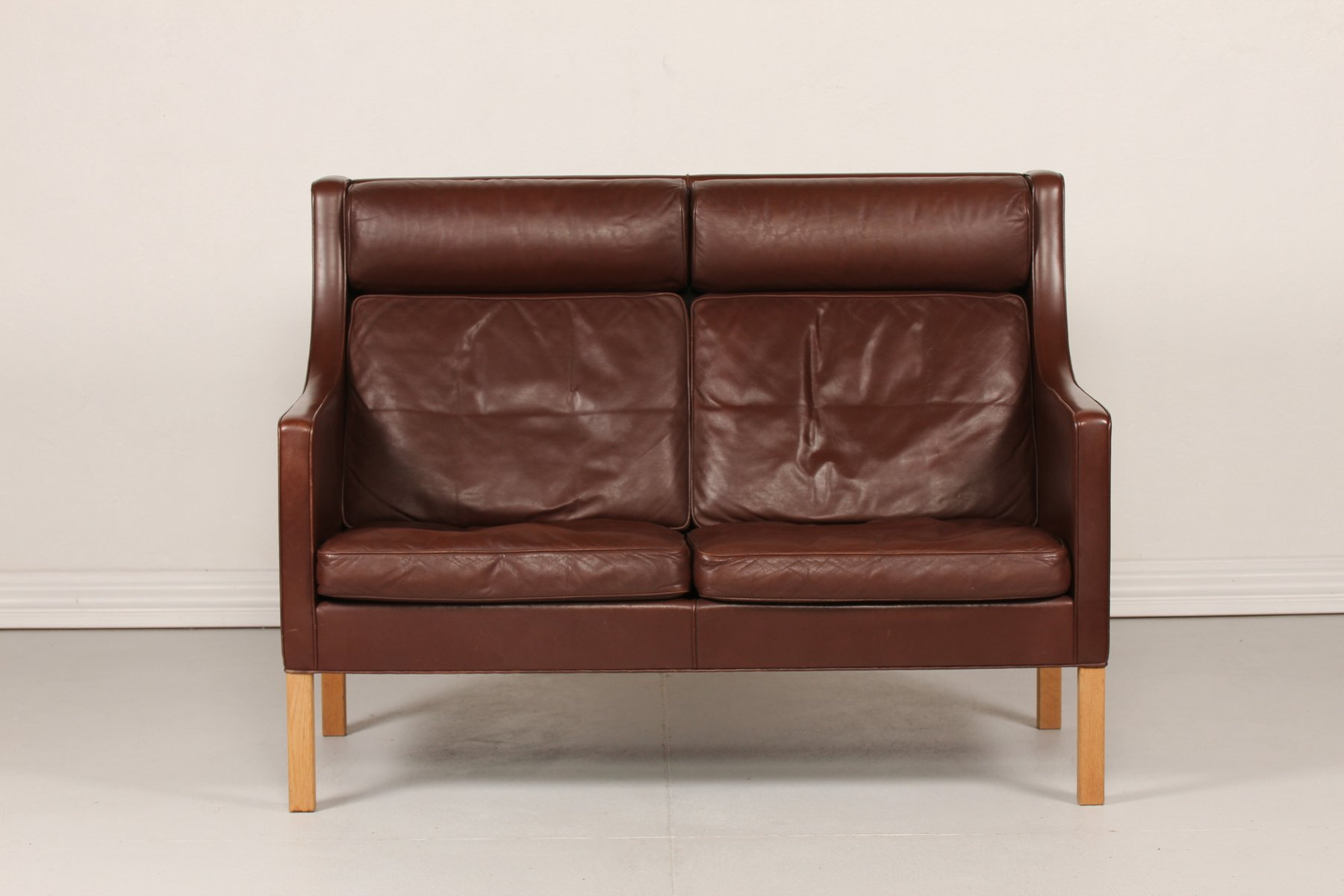 Oak Sofa Set ~ Danish leather and oak sofa by børge mogensen for