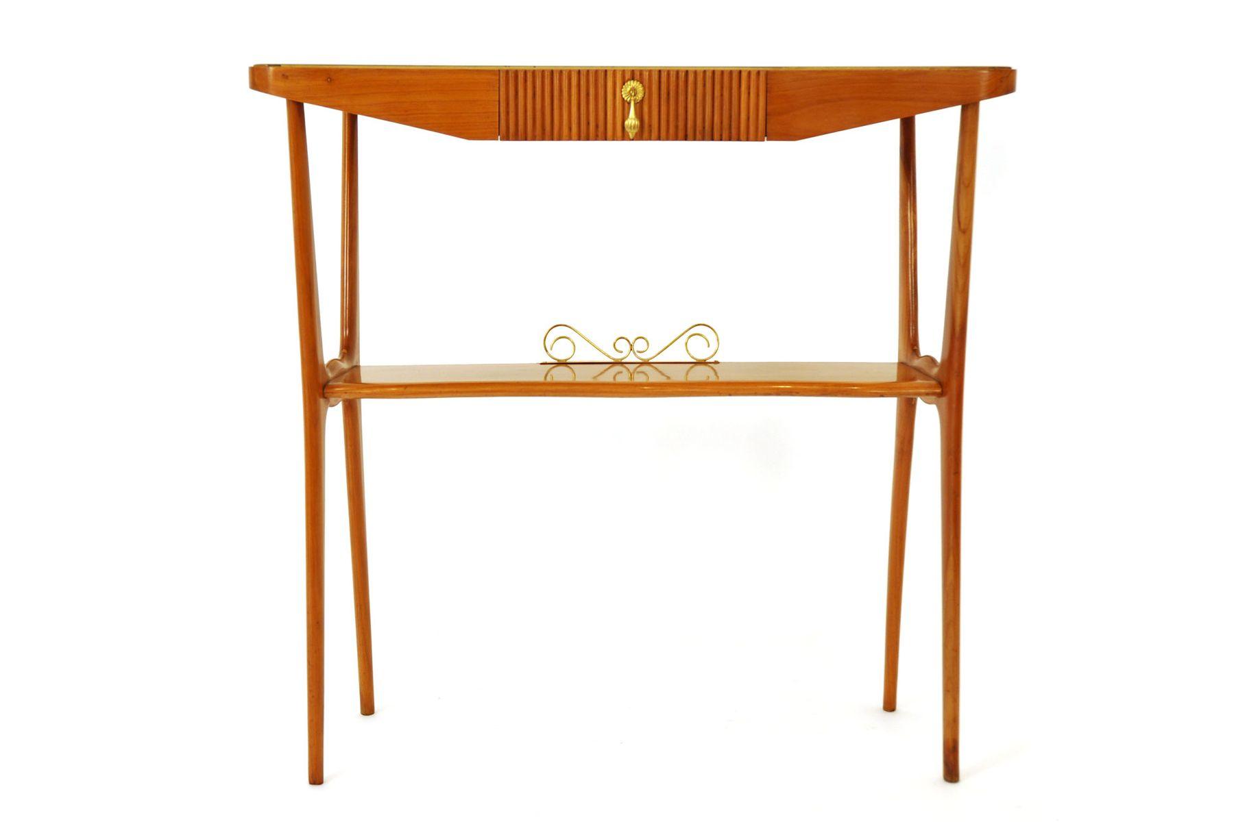 Wonderful Italian Wood U0026 Glass Console Table, 1950s For Sale At Pamono